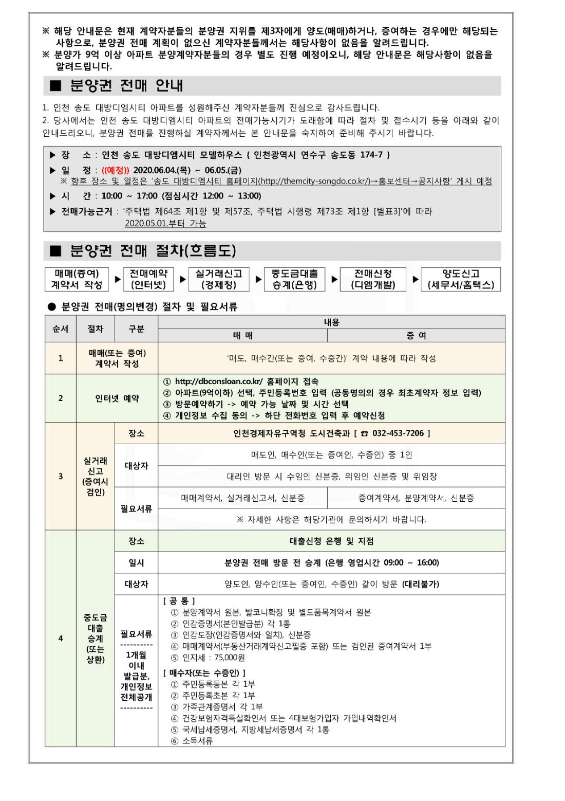 3. 송도 대방디엠시티 9억이하 아파트 전매안내문_1.jpg